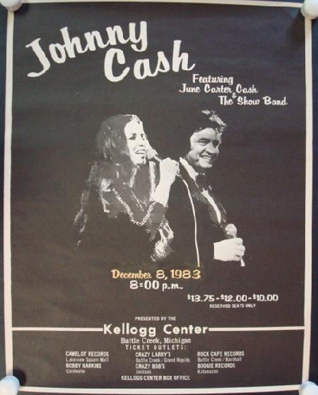 johnny cash michigan 1983 original concert poster ebay. Black Bedroom Furniture Sets. Home Design Ideas